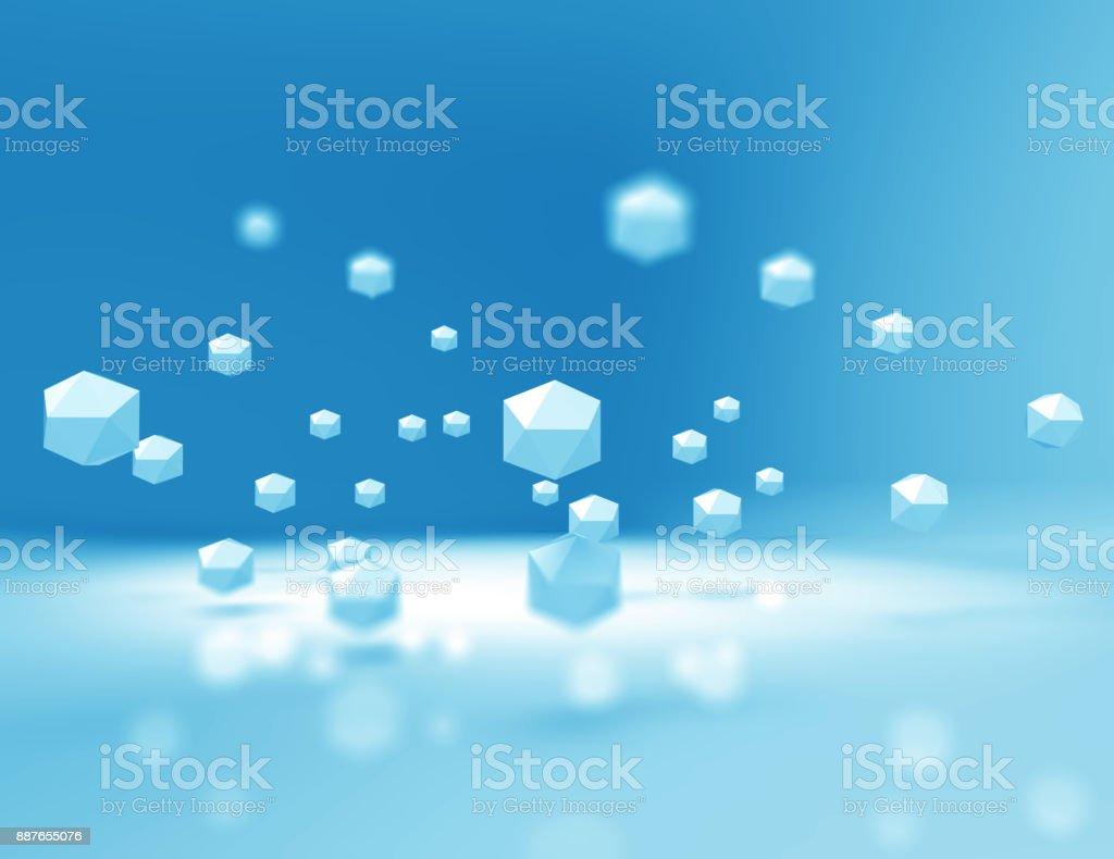 Flying Blue Cubes stock photo
