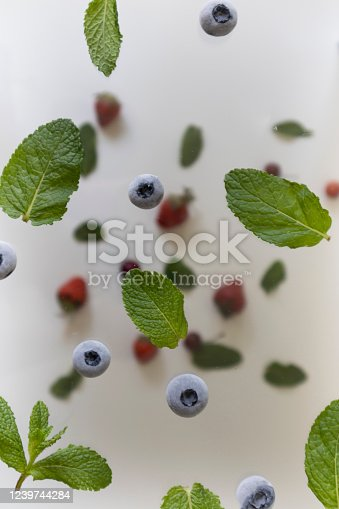 879258868 istock photo flying blueberries and mint leaves, falling berries on a light background 1239744284