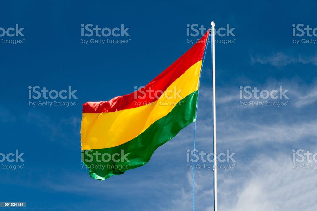 Flying Bolivia Flag outdoor stock photo