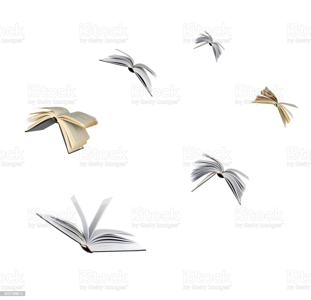 Flying books stock photo