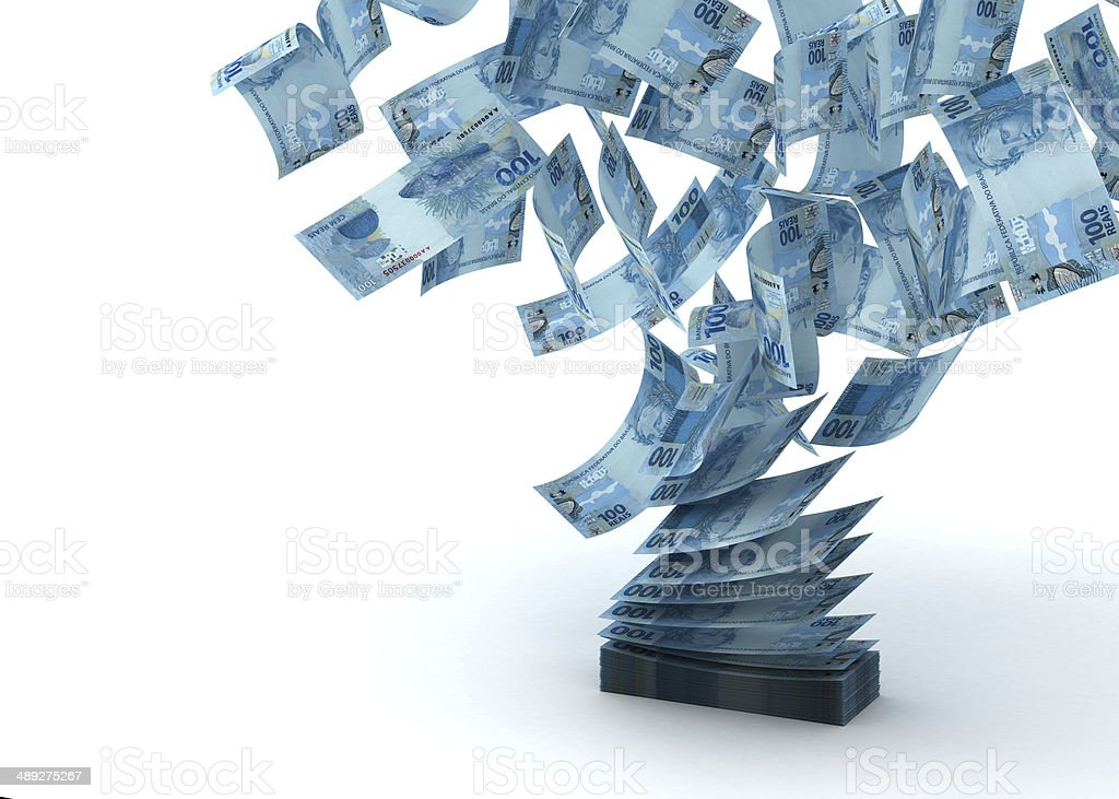 Flying Brazilian Real stock photo