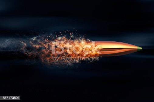 istock Flying bullet with dust trail 537173501
