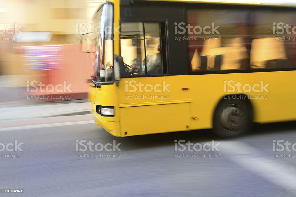 Flying bus in the city traffic, rush hour stock photo