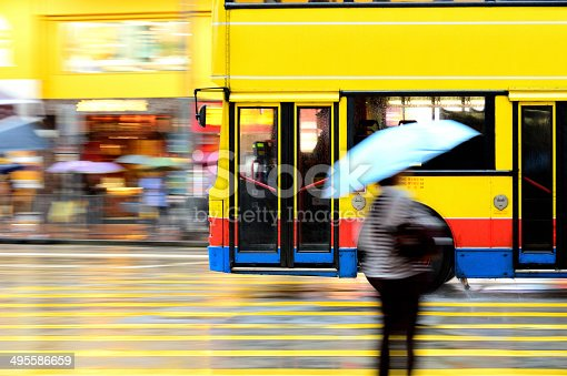 1060957508 istock photo Flying bus in the city traffic, rush hour 495586659