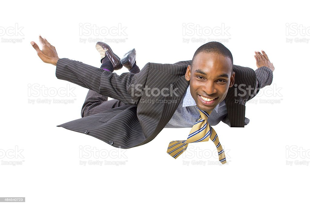 Flying Businessman in Flight or Falling on a White Background stock photo
