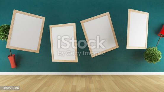 istock Flying canvas and flowers in pots in the gallery, Poster Mockup 939273230