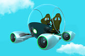 Flying pod in the near future. Flight technology to get the owner.