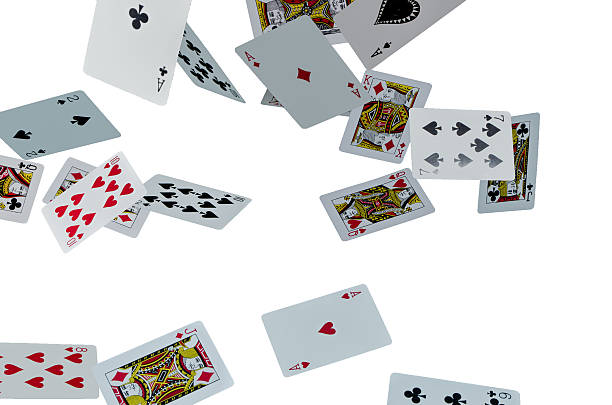 Flying cards on white background