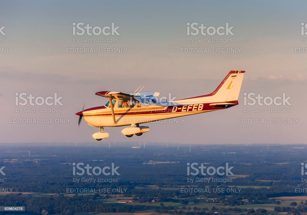 Flying Cessna 172 - Skyhawk stock photo