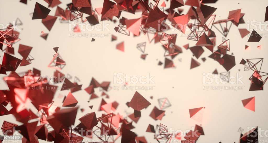 Flying Chaotic Metal Pyramids Background 3D Rendering stock photo