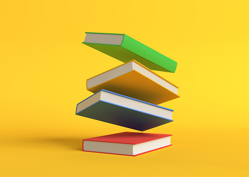 Flying color books on pastel yellow background. Levitation. Education concept. 3d rendering illustration