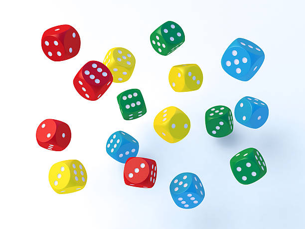 Flying Colorful Dices 3D Render of 16 colorful dices flying around. Very high resolution available! blue 3d business NOT map NOT background stock pictures, royalty-free photos & images