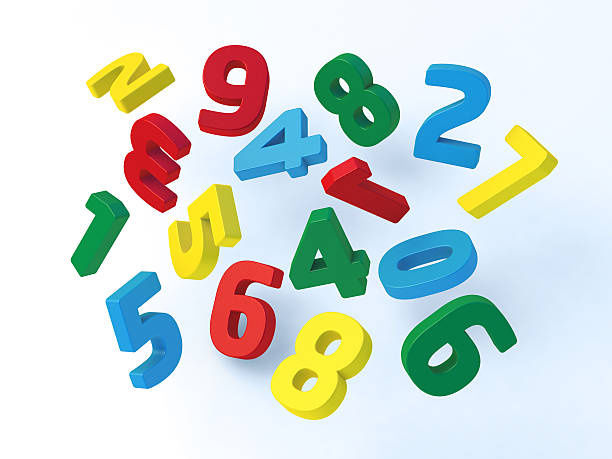 Flying Colorful Numbers stock photo