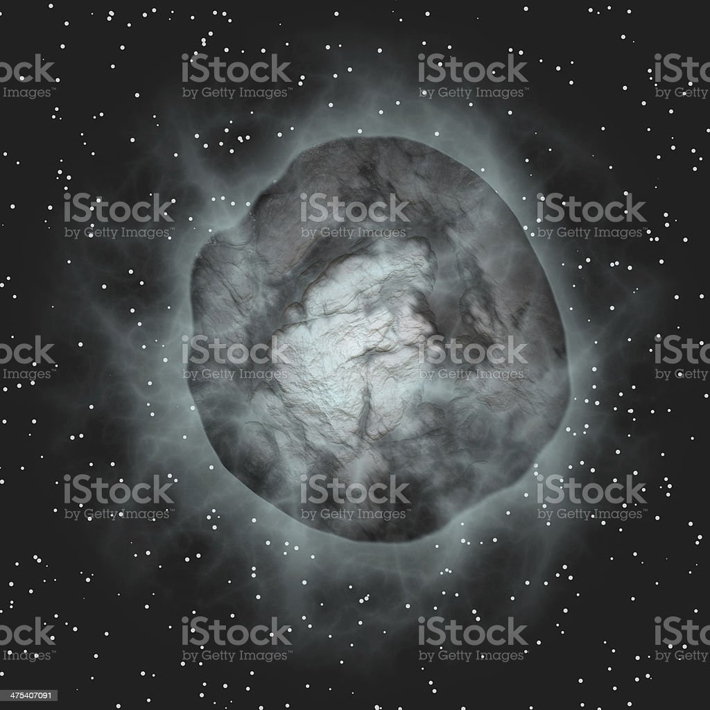 flying comet on black space backgrounds stock photo
