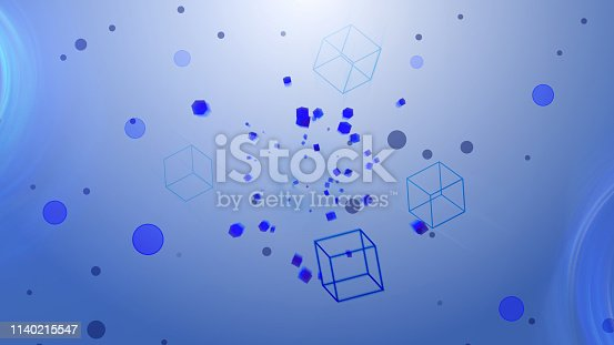 511983606 istock photo Flying cubes in clear space with circles, light and easy spring modern background, 3d render backdrop 1140215547