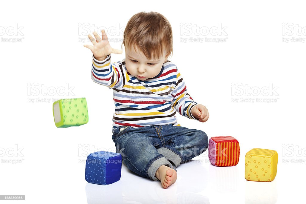 Flying cubes stock photo