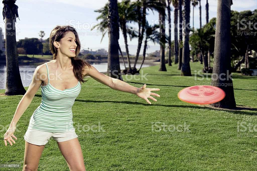 Flying Disc Girl royalty-free stock photo