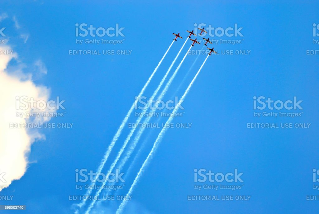 Flying display and aerobatic show with jets flying straight stock photo