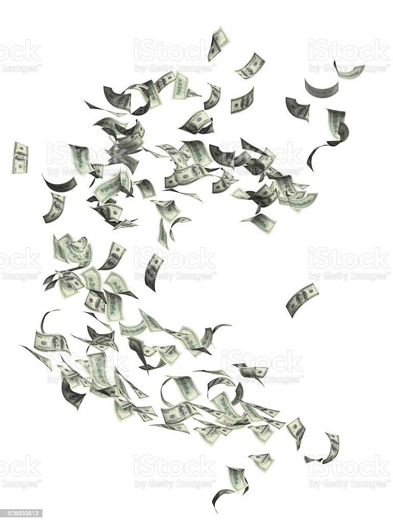 Flying dollar banknotes stock photo