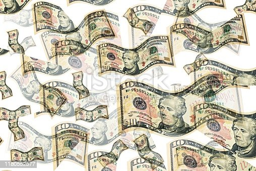 istock Flying dollars. Money in the air. 1180552577