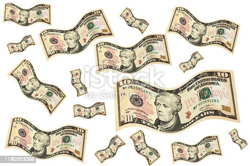 istock Flying dollars. Money in the air. 1180553066
