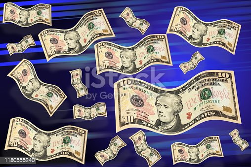 istock Flying dollars. Money in the air. 1180555240