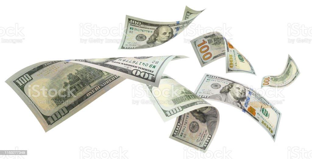 화이트 플 라 잉 달러 - 로열티 프리 0명 스톡 사진