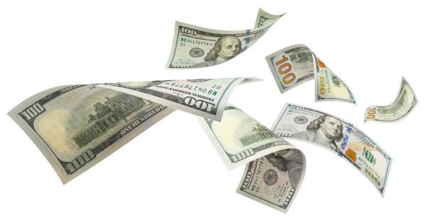 在白色飛行美元 - money 個照片及圖片檔
