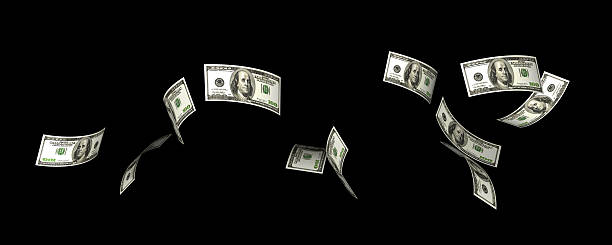 flying dollars - money black background stock photos and pictures