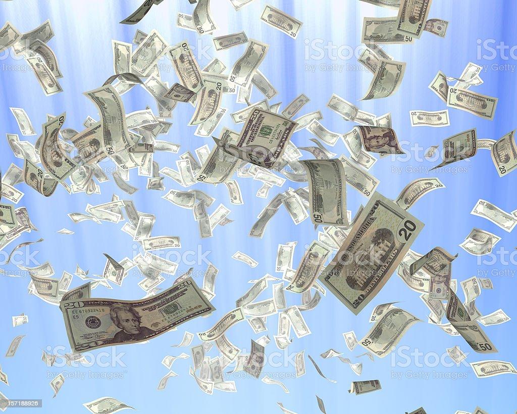 Flying dollars stock photo