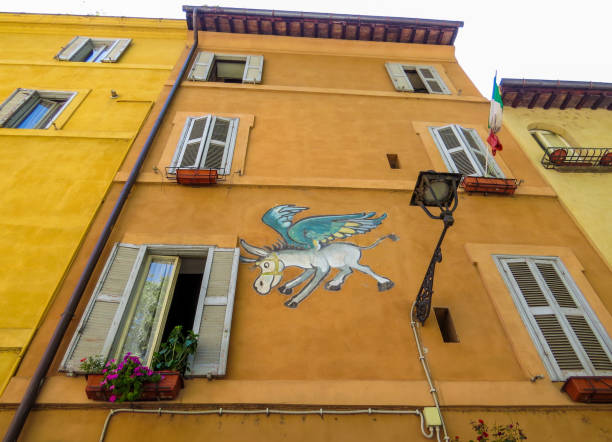 Flying Donkey, Rome, Italy stock photo