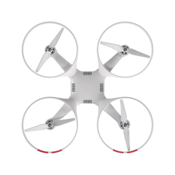 flying drone 3d illustration - drones stock photos and pictures