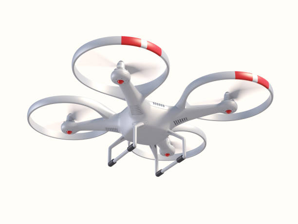 flying drone 3d illustration - drones stock pictures, royalty-free photos & images