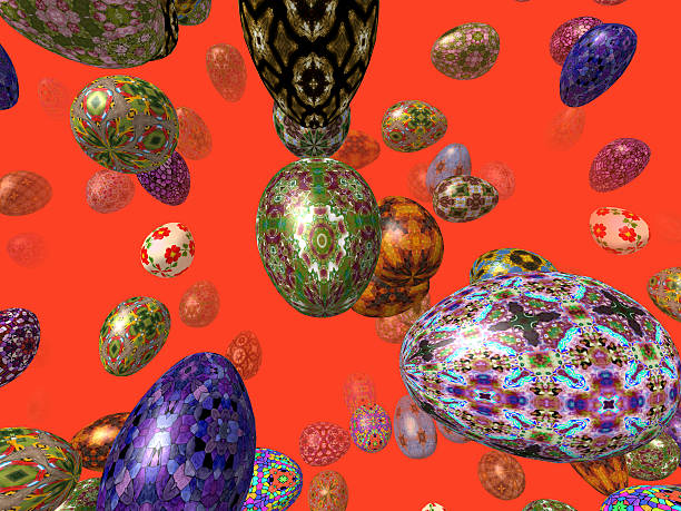 Flying easter eggs generated 3D background stock photo
