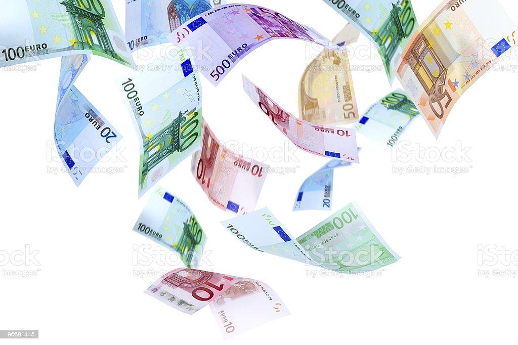Flying Euro money royalty-free stock photo