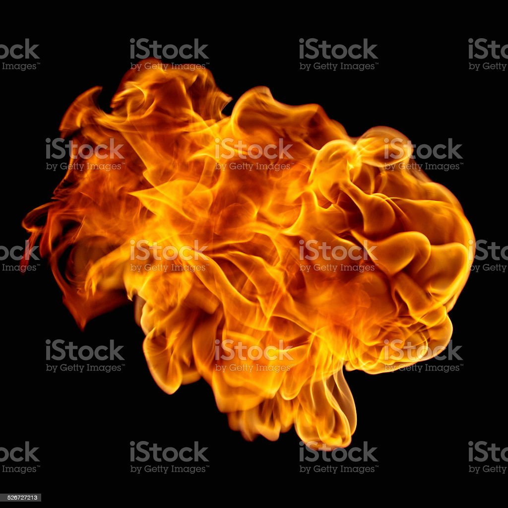 Flying fire ball. stock photo