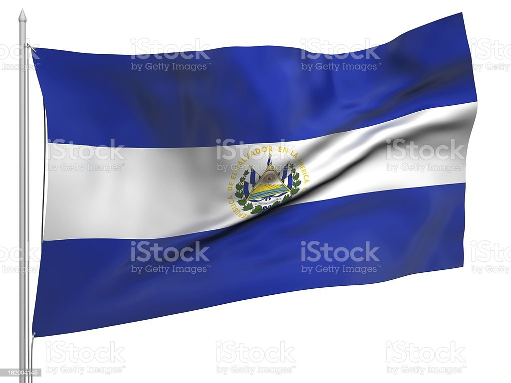 Flying Flag of El Salvador - All Countries royalty-free stock photo