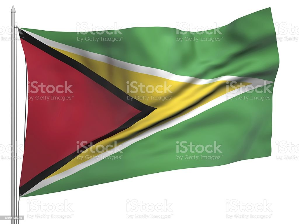 Flying Flag of Guyana - All Countries royalty-free stock photo
