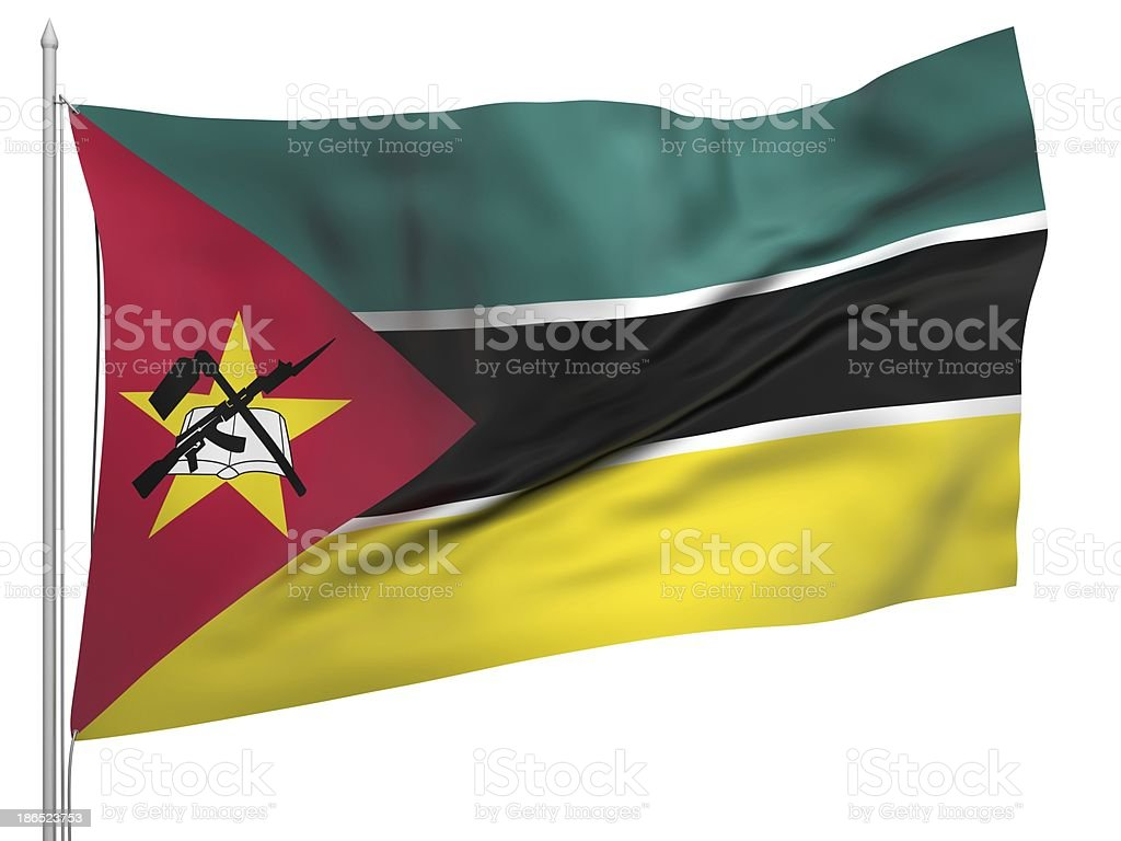 Flying Flag of Mozambique - All Countries royalty-free stock photo