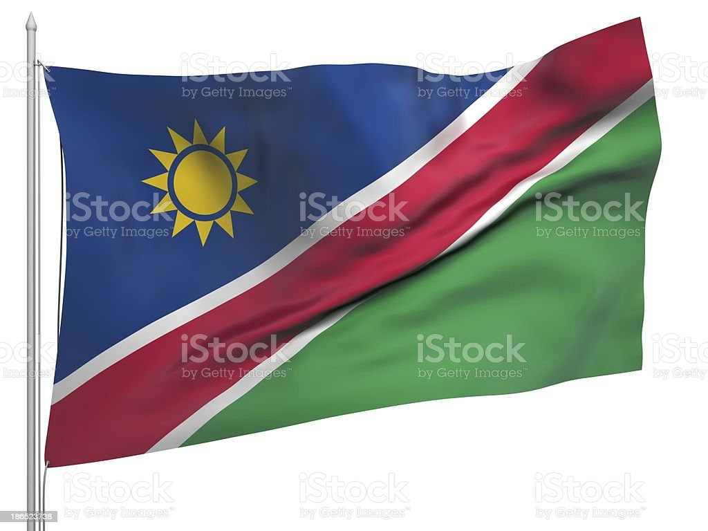 Flying Flag of Namibia - All Countries royalty-free stock photo