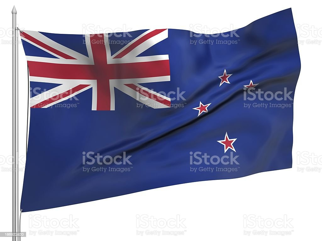 Flying Flag of New Zealand - All Countries royalty-free stock photo