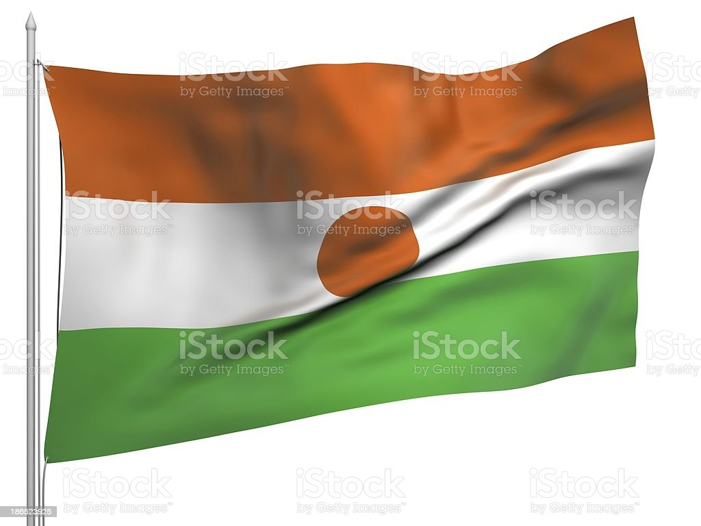 Flying Flag of Niger - All Countries royalty-free stock photo