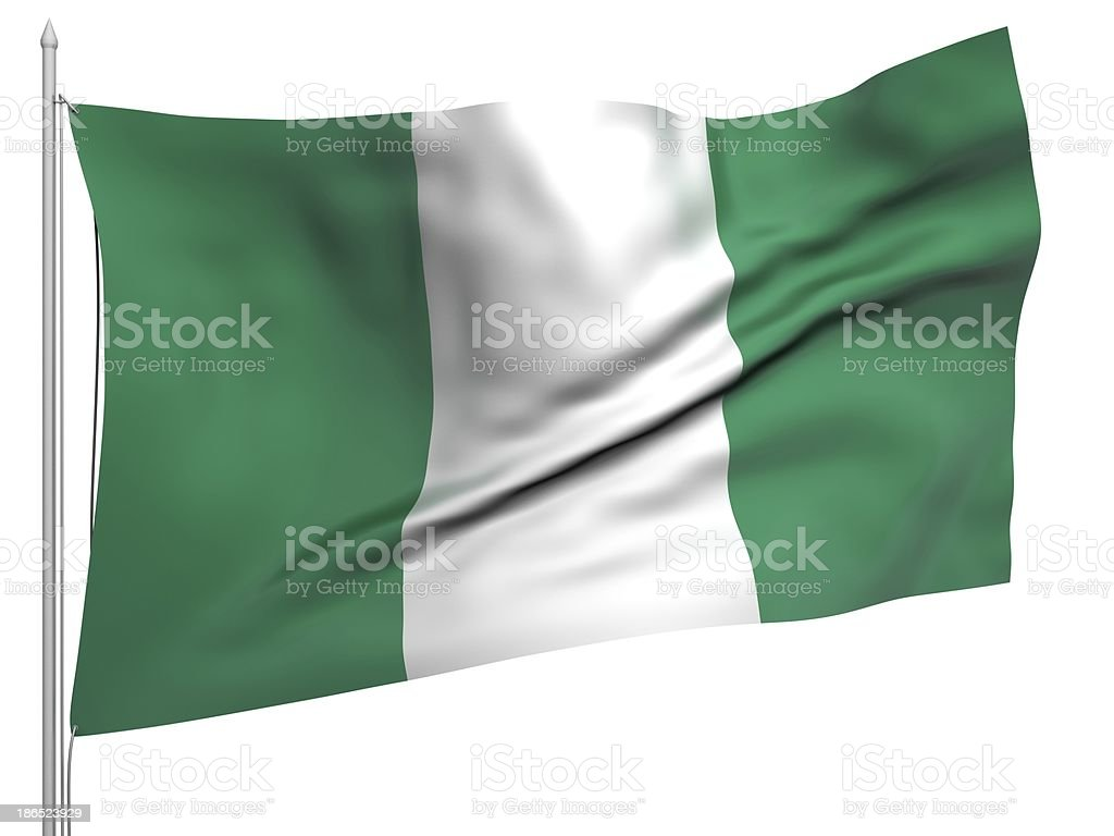 Flying Flag of Nigeria - All Countries royalty-free stock photo