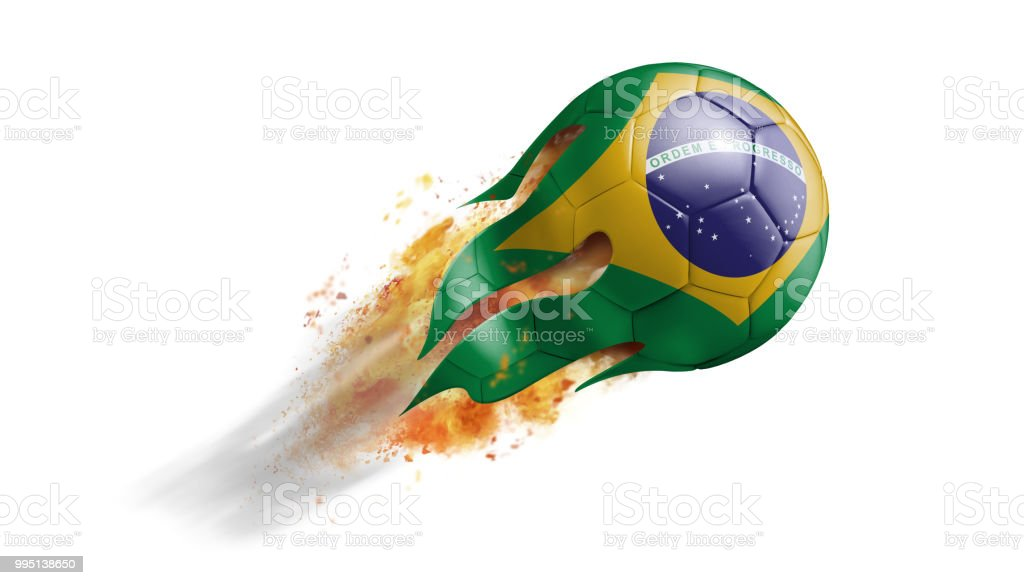 Flying Flaming Soccer Ball with Brazil Flag stock photo