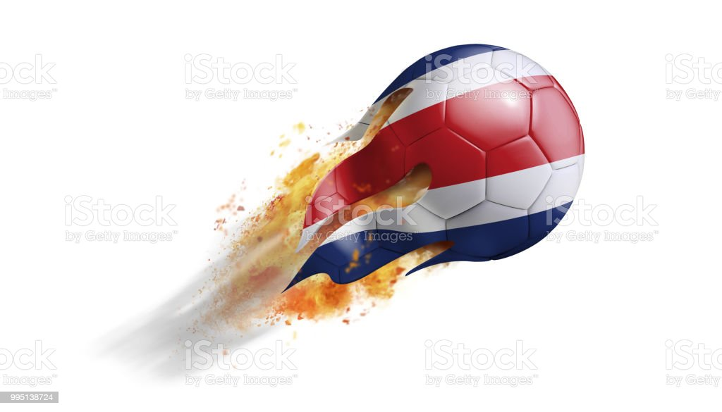 Voladores pelota llameante con bandera de Costa Rica - foto de stock