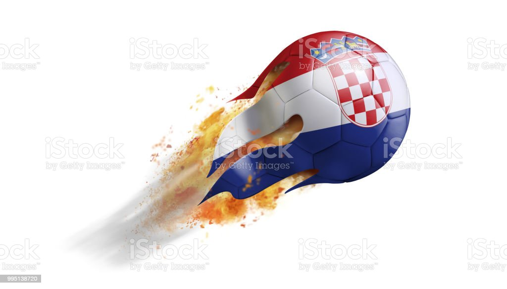 Flying Flaming Soccer Ball with Croatia Flag - foto stock