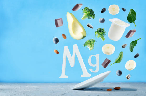 flying foods rich in magnesium. healthy eating - magnesium stock photos and pictures