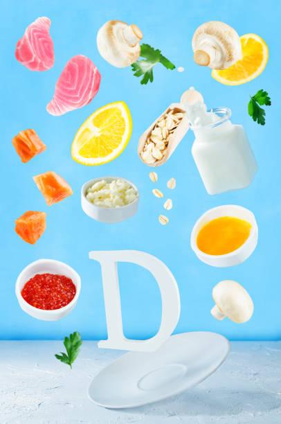 d vitamini zengin gıdalar uçan - vitamin d stok fotoğraflar ve resimler