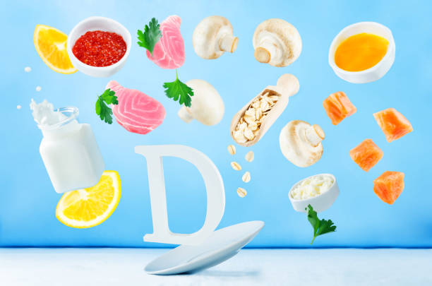 Flying foods rich in vitamin d stock photo