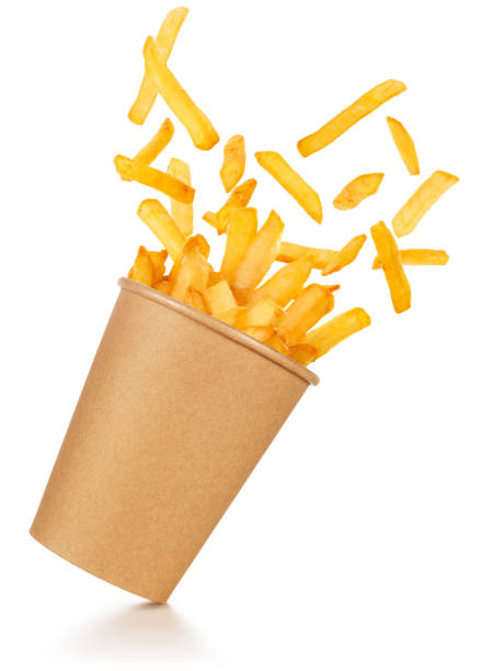 flying french fries to go isolated - patatine foto e immagini stock